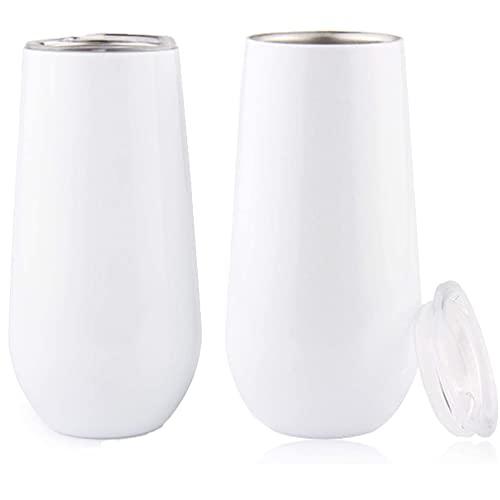 Copas de vino de acero inoxidable con tapa, 170 ml, 2 unidades, color blanco