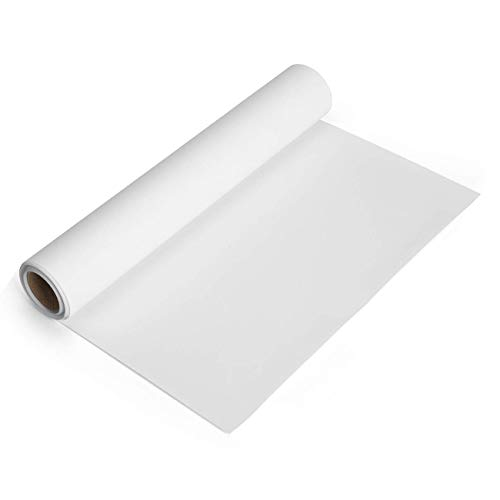 White Heat Transfer Vinyl Roll 12''x5' Iron-On Vinyl White HTV Vinyl for T-Shirt Silhouette Cameo Machines Craft Cutters 12 Inches by 5 Feet