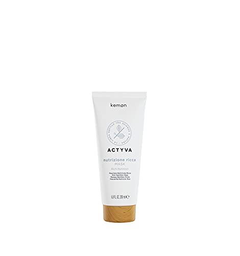 Kemon - Actyva Nutrizione Ricca Mask, Maschera Trattamento Nutriente e Volumizzante per Capelli Secchi, con Avena e Olio d Oliva, Districante - 200 ml