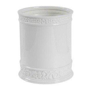 Creative Bath CMO54WH Cosmopolitan White Scroll Porcelain Wastebasket