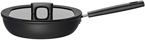 Fiskars Hard Face Pfanne für Sauteuse mit Deckel, Stahl, Schwarz, 26 cm