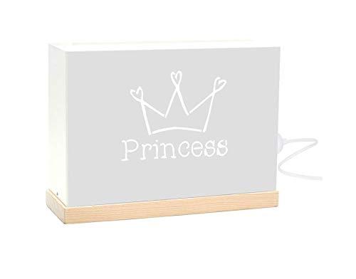 60watios.com Lichtbox aus Metall und Naturholz mit beleuchteten Buchstaben, LED-Bilder für originelle Geschenke Damen, Dekoration, Geburtstag oder persönliche Nachrichten princess