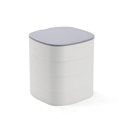 Caja de almacenamiento de joyería, caja de joyería giratoria de cuatro capas, estante de joyería con espejo. gris blanco