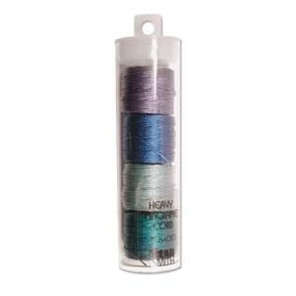 S-Lon Heavy Bead Cord, Sea Color (Green and Blue) Mixture, 0.9mm Diameter 4 Spools