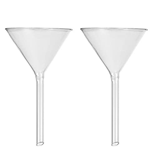 iplusmile 2 Piezas de Embudo de Vidrio de Pared Pesada de 100Mm Embudo de Vidrio de Borosilicato Embudo de Polvo de Tallo Corto para Llenar Botellas Perfumes Aceites Ciencia Laboratorio