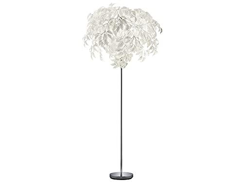 Reality Leuchten Inusual lámpara de pie LED, pantalla de 70 cm de diámetro – 180 cm de alto, en vestido de hojas blancas con aspecto de plumas.