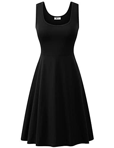 Black Midi Dress Summer Casual Sleeveless Scoop Neck Halter Skater Dress for Women Black L