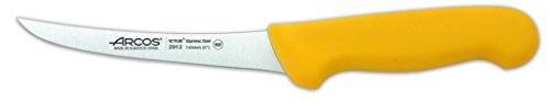 Arcos Serie 2900, Cuchillo Deshuesador Curvo Semiflexible, Hoja de Acero Inoxidable Nitrum de 140 mm, Mango inyectado en Polipropileno Color Amarillo