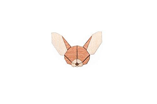 BeWooden Tier Brosche aus Holz | Nachhaltig & individuell | handgefertigter Schmuck | Wald-, Hunde-, Safari-Kollektion (Fennec)