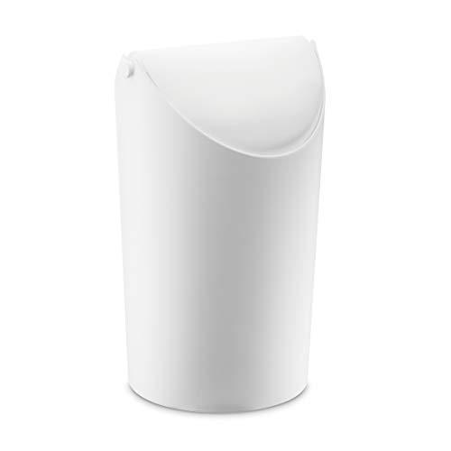 koziol Mülleimer Jim, Bio-Kunststoff, solid weiß, 17,5 x 19,10 x 31,5 cm