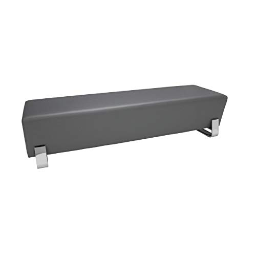 OFM Core Collection Axis Series Contemporary Triple Seating Bench, Textured Vinyl with Chrome Base, in Slate (4003C-SLT)