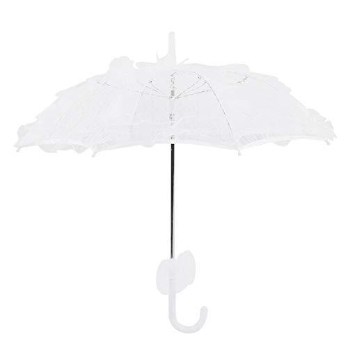 Fictory Spitze Regenschirm, Weiß Mini Brautspitze Regenschirm Sonnenschirm Hochzeitszubehör Bankett Bühnenfotografie Prop
