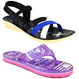 CAMFOOT Women Multicolour Latest Collection Stylish Sandal & Slippers-Pack of 2 (Combo-(2)-1179-969)