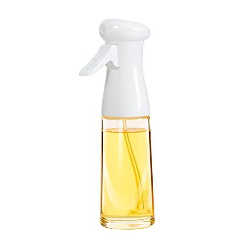 HOBULL Oil Spray Bottle for Cooking, 7Oz/200ml Olive Oil Sprayer Dispenser Mister for Air Fryer, BBQ, Backing, Salad, Roasting, Grilling, Kitchen - Glass Bottle(White)
