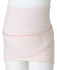 ふわふわパイルボーダー柄 補助腹帯付き妊婦帯 (ピンク,M)