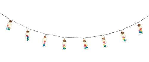 Happy me Lichterkette Pompons | Stimmungsvolle Lichterdeko für den Innenbereich | 10 Lichter im Gläschen | Länge ca. 1,10 m