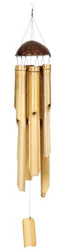 com-four® Windspiel aus Bambus - Klangspiel für draußen - Glockenspiel zum Aufhängen für Balkon und Garten (01 Stück)