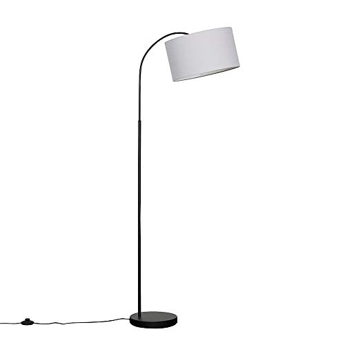 Modern Designer Style Black Curved Stem Floor Lamp with a Grey Drum Shade