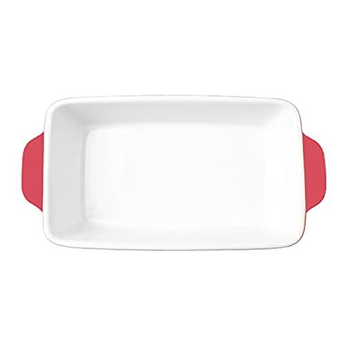 1 Piece Baking Sheet Binaural Ceramic Bakeware Microwave Oven Dedicated Red 600ml