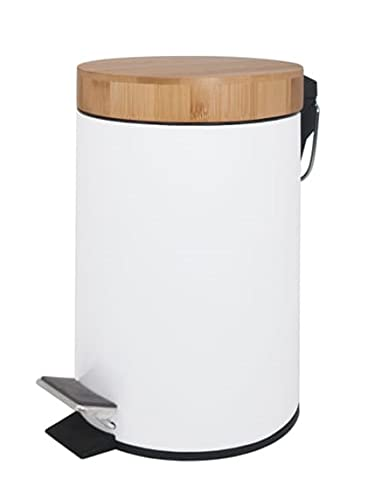 Small Bathroom Trash can with Pedal,Eco Friendly Bamboo lid Soft Close -New Design,0.8 Gal/3L .White Steel with Removable Inner bin.Strong &Anti Skid Pedal.Color Box.Unique & Boutique Style