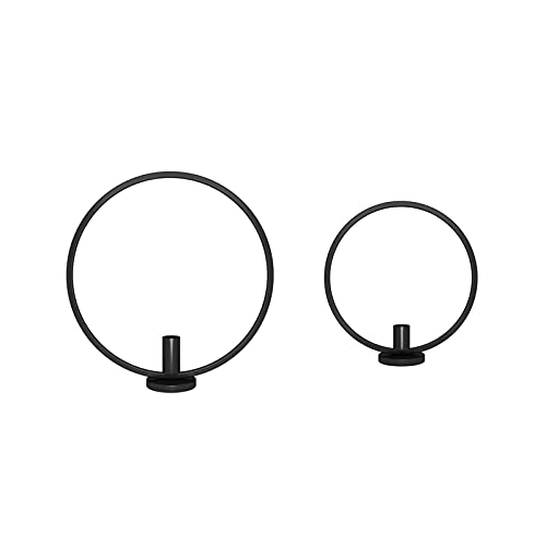 RKMJXJ Candlestick Bulk Round Simple Black Candlestick Home Decoration Dining Table Candlelight Dinner Decoration Candlestick (Color : Black, Size : One pair)