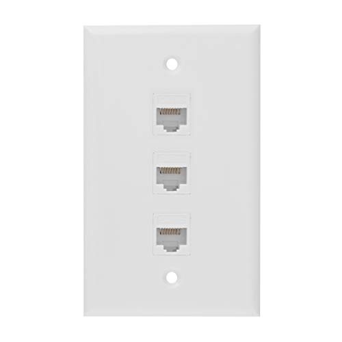 Ethernet Wall Plate, 3 Port Cat 6 RJ45 Keystone Female to Female Wall Plate Compatible with Cat7/6/6e/5/5e Ethernet Devices(2 x Screws Included)