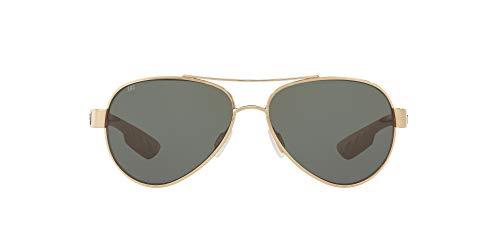 Costa Del Mar Women's Loreto Polarized Aviator Sunglasses, Rose Gold/Grey Polarized-580G, 56 mm