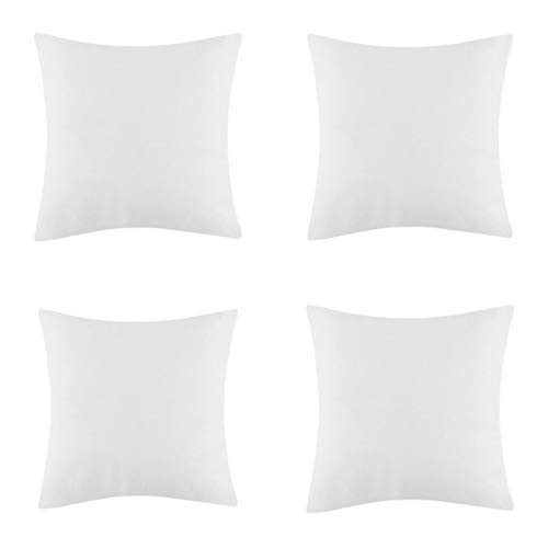 Iyan Linens Ltd 4 Pack of Size 18' x 18' Cushion Pad – Cushion Inner (45cm x 45cm) - Pure White Plump Luxury Sham Inserts with Bounce Back Hollow Fibre, Standard Square – MADE IN UK