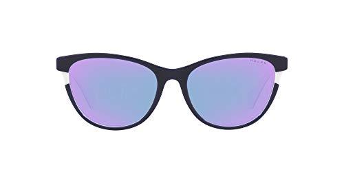 Ralph by Ralph Lauren Gafas de sol de mariposa Ra5275 para mujer, Azul marino brillante sobre blanco/azul claro/morado rosa espejo,