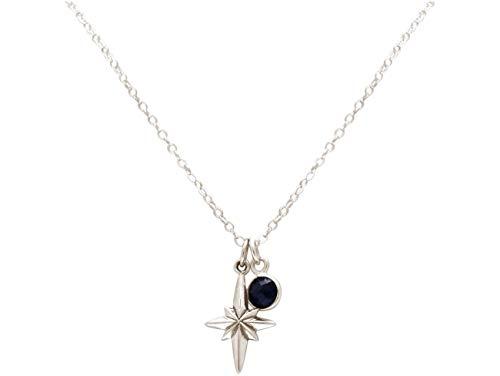 Gemshine Maritim Nautics Halskette mit Nordstern Polarstern aus 925 Silber, hochwertig vergoldet oder rose im Navy Stil mit blauem Saphir - Made in Madrid, Spain, Metall Farbe:Silber