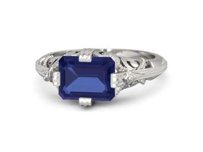 Forever Diamonds 2.91Ct Esmeralda Natural Joyas de piedras preciosas Compromiso Anillos de las mujeres 18K Anillo de oro blanco sólido para mujeres