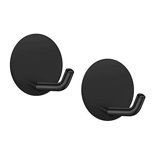 2 ganchos autoadhesivos LJLink negro de pared para toallas, llaves, abrigos, ganchos de acero inoxidable sin taladro, sin tornillos, ganchos para puerta para baño, cocina, armario, redondo