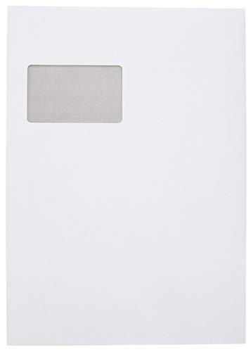 Idena 10251 - Faltentasche DIN C4, mit 2 cm Bodenfalte, 120 g/m², haftklebend, mit Fenster, FSC-Mix, weiß, 100 Stück