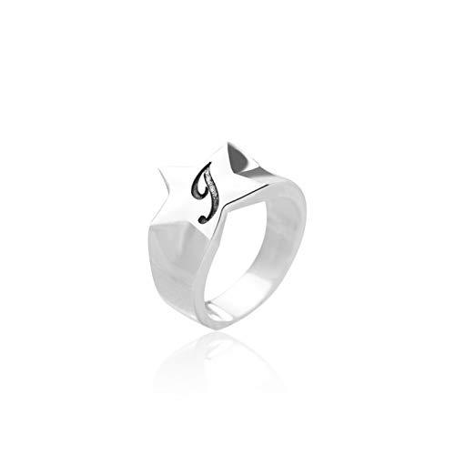 LOUMVE Damen Ringe S925 Sterling Silber Freundschaftsringe Knuckelringe Pentagram Öffnung Ring Freundschaftsringe Ring für Frauen Silber 6 für Frauen