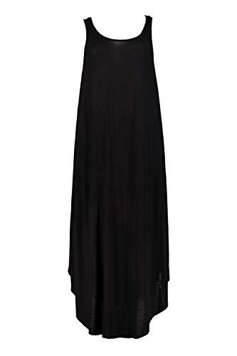 Ulla Popken Damen große Größen bis 64, Strandkleid aus Jersey, transparente Spitzen-Details, Rundhalsausschnitt, breite Träger, ausgestellter und gerundeter Saum, schwarz 42/44 722084 10-42+