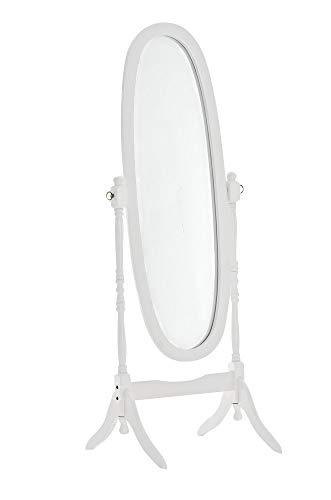 CLP Holz-Standspiegel Cora I Ovaler freistehender Spiegel im Landhausstil I Neigbarer Ganzkörperspiegel mit Holzgestell I Größe 150 x 60 cm, Farbe:weiß