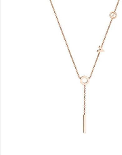 NC198 Amor Collar de Acero de Titanio Que no se desvanece, Oro Rosa, Viento frío, Cadena de clavícula Simple, Collar de Temperamento, Colgante Corto de Marea Femenina