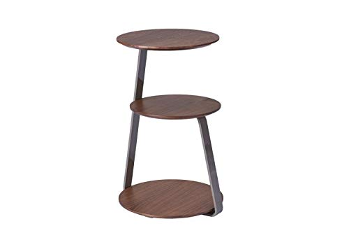 CAGUSTO® Beistelltisch Maja 39 x 38 x 56 Tischplatten rund und eckig in Walnuss Echtholzfurnier mit Gestell aus steingrauem Edelstahl
