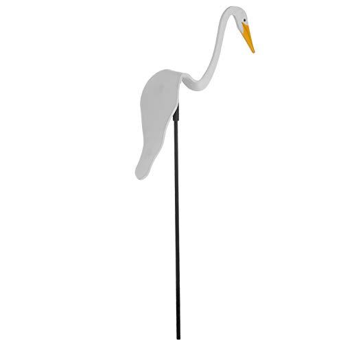 DOITOOL Garden Flamingo Wind Spinner Whimsical Swirl Bird Flamingo Yard Art Wind Spinner for Yard Garden Outdoor White