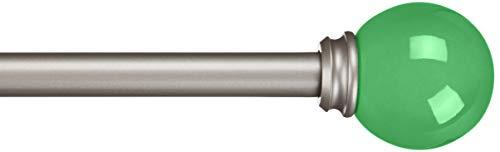 Amazon Basics - Dekorative Gardinenstange, 1,6 cm, Runder Knauf - 71 cm, Kelly-Grün