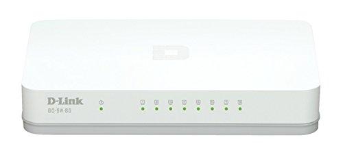 D-Link GO-SW-8G 8-Port Gigabit Easy Desktop Switch (10/100/1000 Mbit/s, automatische MDI/MDIX-Erkennung, einfache Plug & Play-Installation, lüfterlos) weiß/grau