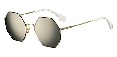 FENDI FF0292 / S Gafas de sol w / 53mm Gris Espejo Lente J5GUE FF0292S FF FF 0292S 0292 / S mujer Oro Grande