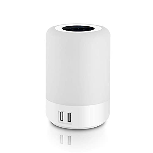 Lampada da comodino a LED intelligente con porta USB, lampada da comodino Muti-Color con luminosità a 3 livelli con funzione Time Off, controllo sensibile al tocco, 4 porte di ricarica USB integrate