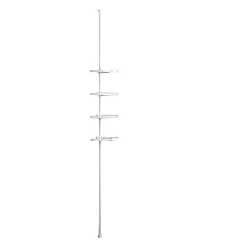 Erica Telescopische hoekbadkamerorganizer, met 4 witte planken, uitschuifbare staaf 155-280cm, witte PVC-coating, 100% roestvrije hoekplank