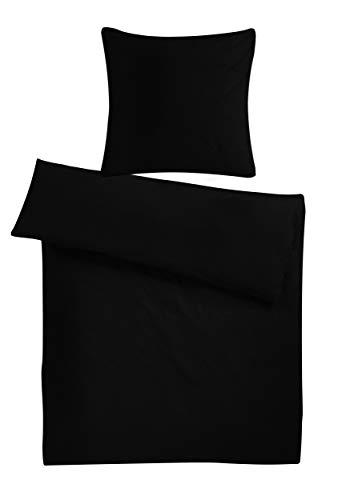 Carpe Sonno kuschelige Biber Bettwäsche 135 x 200 cm einfarbig Schwarze Winterbettwäsche mit Reißverschluss aus 100% Baumwolle Flanell - 2-TLG Bettwäsche Set mit Kopfkissen-Bezug