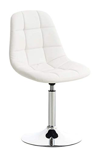 CLP Lounger Emil mit Kunstlederbezug, Esszimmerstuhl mit gestepptem Sitz, Drehstuhl mit Trompetenfuß in Chromoptik, Farbe:weiß