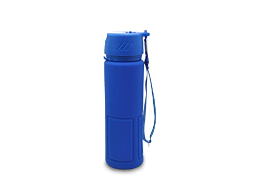 Globomotive Foldable Silicone Water Bottle for Traveling, Gym, Hiking, Yoga, Outdoor - Collapsible, Lightweight Leak-Proof Sports Bottles (600 ml, Blue)