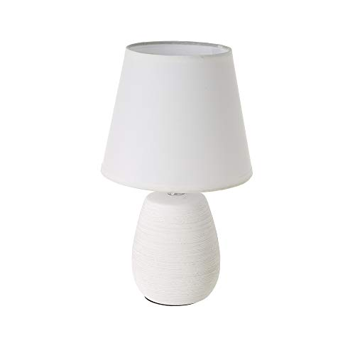 Lámpara de mesa con tulipa rústica de cerámica blanca, de ø 17x27 cm - LOLAhome