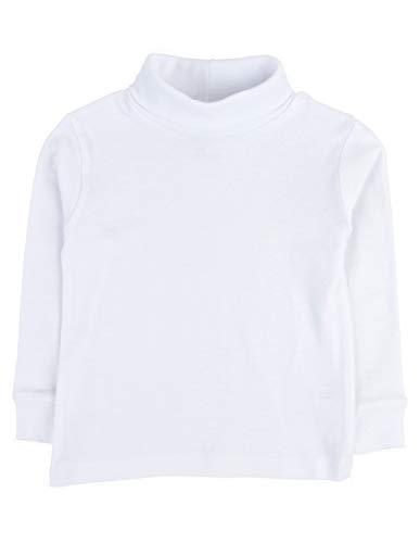 Leveret Girls Boys & Toddler Solid Turtleneck 100% Cotton Kids Shirt (Size 4 Toddler, White)