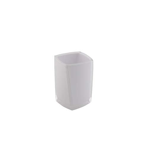 Axentia Graz Eckig Bicchiere portaspazzolino da Denti, Bianco, 7,3 x 10,8 x 7,3 cm